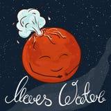 Vector a ilustração imprimível tirada mão do planeta de Marte com estrelas e da Via Látea no fundo Marte está jorrando com água Fotos de Stock Royalty Free