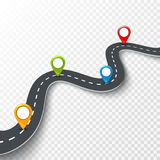 Vector a ilustração infographic da estrada 3d com pino, ponteiro Conceito da informação da rua Pinos infographic e coloridos da e Foto de Stock Royalty Free