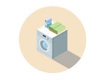 Vector a ilustração isométrica da máquina de lavar, lavando o equipamento da roupa Foto de Stock
