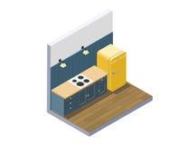 Vector a ilustração isométrica da mobília da cozinha, equipamento home Fotos de Stock Royalty Free