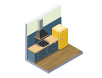 Vector a ilustração isométrica da mobília da cozinha, equipamento home Fotografia de Stock Royalty Free