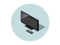 Vector a ilustração isométrica da tevê preta do tela plano com controlador remoto Fotos de Stock Royalty Free