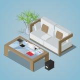 Vector a ilustração isométrica do conceito do espaço de funcionamento do escritório ilustração stock