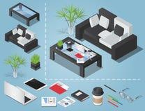 Vector a ilustração isométrica do conceito do espaço de funcionamento do escritório ilustração do vetor