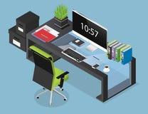 Vector a ilustração isométrica do conceito do espaço de funcionamento do escritório Imagem de Stock