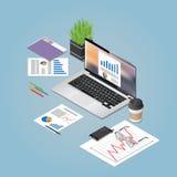 Vector a ilustração isométrica do conceito do espaço de funcionamento do escritório Foto de Stock Royalty Free