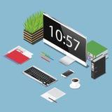 Vector a ilustração isométrica do conceito do espaço de funcionamento do escritório Imagem de Stock Royalty Free