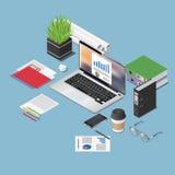 Vector a ilustração isométrica do conceito do espaço de funcionamento do escritório Foto de Stock