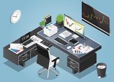 Vector a ilustração isométrica do conceito do espaço de funcionamento do escritório ilustração royalty free