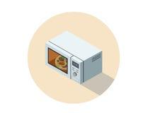 Vector a ilustração isométrica do forno micro-ondas, equipamento liso da cozinha 3d Foto de Stock Royalty Free
