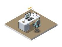 Vector a ilustração isométrica do lugar de funcionamento do escritório, design de interiores 3d liso Imagens de Stock Royalty Free