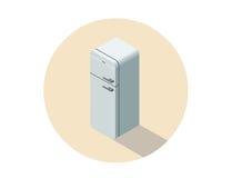 Vector a ilustração isométrica do refrigerador branco, equipamento da cozinha Fotografia de Stock Royalty Free