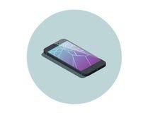 Vector a ilustração isométrica do smartphone com tela quebrada Imagem de Stock Royalty Free