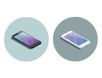 Vector a ilustração isométrica do smartphone com tela quebrada Foto de Stock