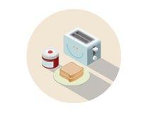 Vector a ilustração isométrica do torradeira e do café da manhã com brindes e doce Imagens de Stock Royalty Free