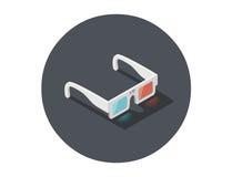 Vector a ilustração isométrica dos vidros 3d brancos, ícone estereofônico do cinema Imagens de Stock