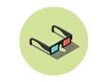 Vector a ilustração isométrica dos vidros 3d pretos, ícone estereofônico do cinema Fotografia de Stock Royalty Free