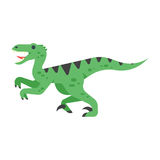 Vector a ilustração lisa do estilo do animal pré-histórico - Velociraptor ilustração stock