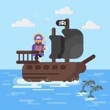 Vector a ilustração lisa do estilo do navio de pirata com golfinhos Imagem de Stock Royalty Free