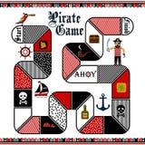 Vector a ilustração lisa do estilo do molde do jogo de mesa do pirata das crianças Imagens de Stock