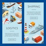 Vector a ilustração marinha isométrica da logística e dos moldes da bandeira da Web do porto ilustração do vetor