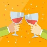 Vector a ilustração moderna lisa do conceito na celebração e o partido que caracteriza as mãos levantadas múltiplo que mantêm o c Fotos de Stock