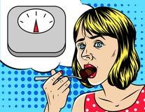Vector a ilustração no estilo cômico da arte de uma mulher que come o bolo Fotografia de Stock