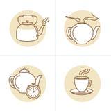 Vector a ilustração no estilo linear na moda - instru da infusão do chá Imagens de Stock Royalty Free