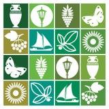 Vector a ilustração no estilo retro em um tema do verão nas máscaras do verde Pode ser usado no projeto das telas, roupa, packag Fotos de Stock