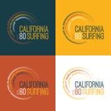 Vector a ilustração no tema de surfar em Califórnia Foto de Stock