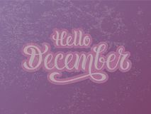 Vector a ilustração olá! de dezembro para o cartaz, o logotype, o inseto, a bandeira, o cartão ou o cartão da tipografia ilustração stock