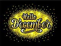 Vector a ilustração olá! de dezembro para o cartaz, o logotype, o inseto, a bandeira, o cartão ou o cartão da tipografia ilustração royalty free