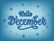 Vector a ilustração olá! de dezembro para o cartaz, o logotype, o inseto, a bandeira, o cartão ou o cartão da tipografia ilustração do vetor
