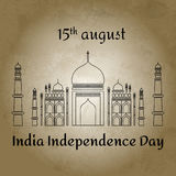 Vector a ilustração para o dia de 15 August Indian Independence no estilo liso no fundo retro Ícone indiano famoso da mesquita Te Imagens de Stock Royalty Free