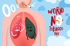 Vector a ilustração para o mundo nenhuma campanha do dia do cigarro, conceito d Fotos de Stock Royalty Free