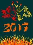 Vector a ilustração pelo ano novo chinês do galo 2017 Fotografia de Stock