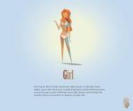 Vector a ilustração poligonal da mulher despida, baixo objeto poli moderno, caráter da menina do estilo do origâmi Fotos de Stock