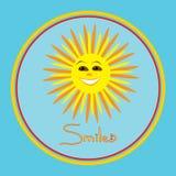 Vector a ilustração positiva do sol de sorriso no quadro redondo Imagens de Stock Royalty Free