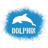 Vector a ilustração pulverizada imprimível com golfinho de salto e etiquete-a Imagens de Stock