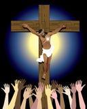 Multidão transversal de Jesus ilustração stock