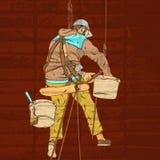 Vector a ilustração realística colorida do decorador no processo de trabalho ilustração stock
