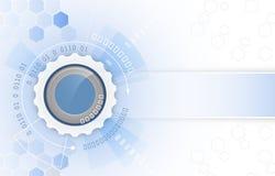 Vector a ilustração, a roda de engrenagem, as setas e o teste padrão do hexágono Fundo futurista abstrato da tecnologia digital d ilustração stock