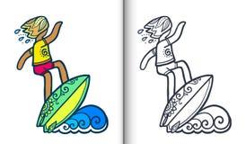 Vector a ilustração surfando com o surfista na onda no estilo da garatuja Páginas do livro para colorir com lineart claro e color ilustração stock