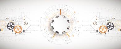 Vector a ilustração, a tecnologia digital da Olá!-tecnologia e a engenharia ilustração royalty free