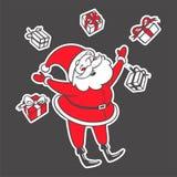 Vector a ilustração tirada mão de Santa Claus com queda das caixas Foto de Stock