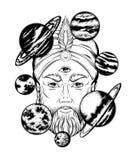 Vector a ilustração tirada mão do caixa de fortuna com planetas ilustração royalty free