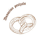 Vector a ilustração tirada mão do lápis do pretzel com sésamo com etiqueta Imagens de Stock