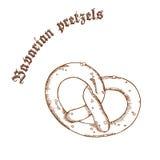 Vector a ilustração tirada mão do lápis do pretzel com sal com etiqueta Fotos de Stock