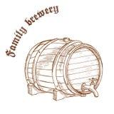 Vector a ilustração tirada mão do lápis do tambor de cerveja com etiqueta Fotos de Stock Royalty Free