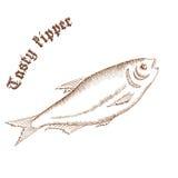 Vector a ilustração tirada mão do lápis dos peixes com etiqueta Imagens de Stock Royalty Free